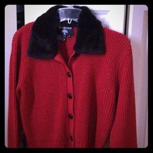 Red cardigan with fur collar
